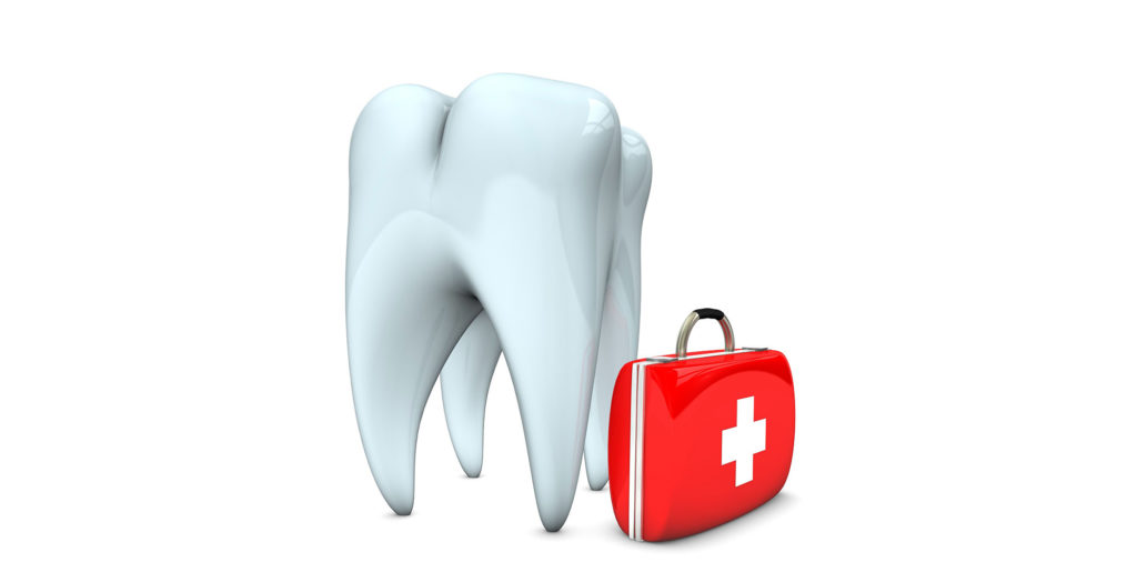 giant tooth with medical bag